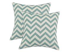 Zig Zag 17x17 Pillows - Village Blue - Set of 2