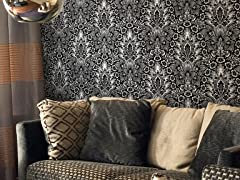 Polynesian Damask Black Tiles