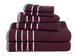 100% Egyptian Cotton Rice Weave 6 Piece Towel Set-8 Colors