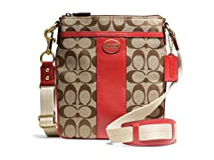 Coach Legacy Signature Swingpack - Khaki/Red