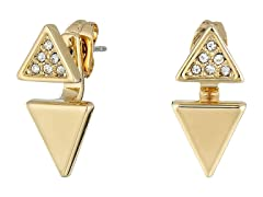 "Rebecca Minkoff ""Free Bird"" Double Triangle Front to Back Gold Earrings"