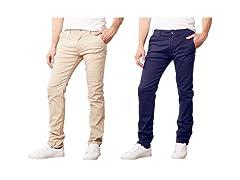 Mens 2PK Stretch Classic Chino Pants