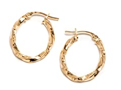 14K Gold Twisted Greek Design Hoop Earring