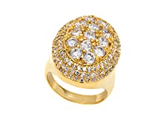 18k GP Gold and CZ Round Ring