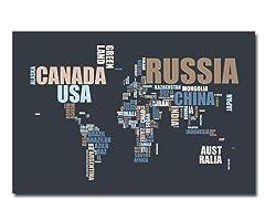 World Text Map 18x24 Canvas