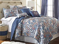 Arcadia 6pc Printed Reversible Quilt Set
