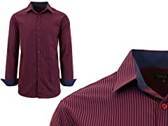 GBH Men's LS Check/Pinstripe Dress Shirt