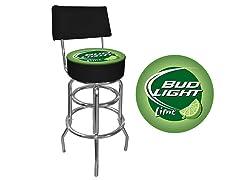 Bud Light Lime Padded Bar Stool w/ Back