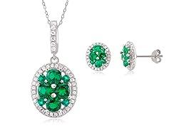 Sterling Silver Emerald Set
