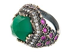 SS Round Dyed Emerald & Ruby Genuine Semi-Precious Gemstone CZ Ring