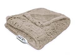 Serta® Faux Fur Electric Heated Throw