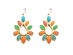 TearDrop w/ Petals MultiColor Epoxy Stone Dangling Earrings