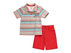 Orange/Blue Stripe 2-Pc Short Set (5,6)