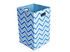 Sky Zig Zag Canvas Folding Laundry Bin