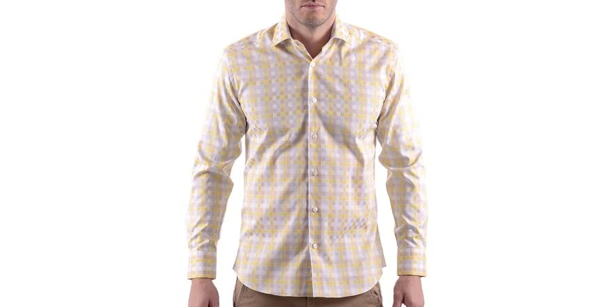 Bertigo Rico 10 Yellow Men 39 S Long Sleeve Dress Shirt Fashion