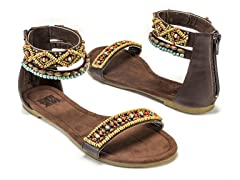 Wren Beaded Sandals, Brown
