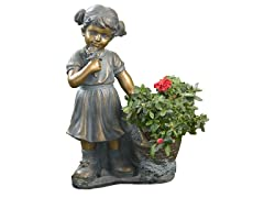 Girl Picking Flowers and Plant Holder