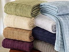 Superior 100% Cotton Basket Weave Blanket