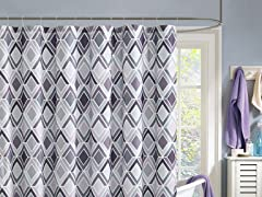 Delta Embossed Shwr Curtain-Gry/Lavender