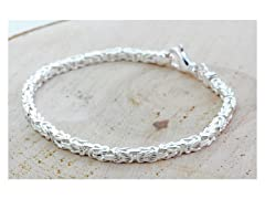 Italian Solid Silver Byzantine Bracelet
