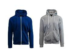 Men's Fleece Lined Zip Hoodie - 2 Pack