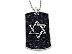Oxidized SS Hammered Design Star Of David Dogtag Pendant