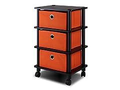 3 Bins System Rack w/Caster Orange