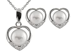 2 Piece Heart Pearl Set