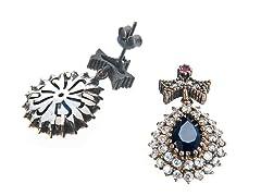 SS Dyed Sapphire & White CZ Genuine Semi-Precious Gemstone Earrings