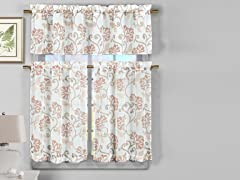 Rivietta Kitchen Curtain Set-3 Colors