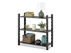 Adjustable 3-Tier Wood Shelving-Walnut
