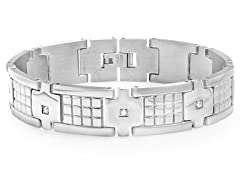 Stainless Steel Box Link Bracelet w/ CZ