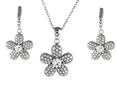 Sterling Silver Sim. Diamond Flower Set