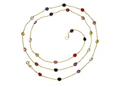 18 kt Gold Plated SS Multi Color Simulated Diamond By The Yard Necklace