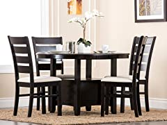 Arletta Espresso 5PC Dining Set
