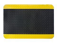 5' Indoor Diamond Mat, Black with Yellow