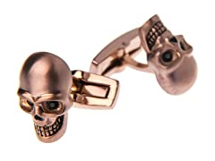 Brushed Chocolate SS Skull Cufflinks With Black CZ Eyes
