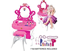 2-in-1 Princess Pretend Play Vanity Set Table w/ Piano