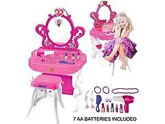 2-in-1 Princess Pretend Play Vanity Set Table w/ Piano