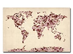 Vintage Hearts World Map 18x24 Canvas