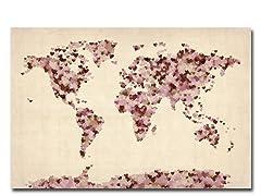 Vintage Hearts World Map 18x24 Canvas