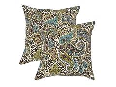 Paisley 17x17 Pillows - Chocolate - Set of 2