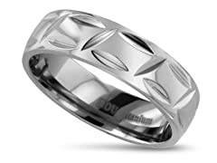 Polished Textured Titanium Ring