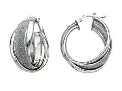 Italian Sterling Silver Double Earring