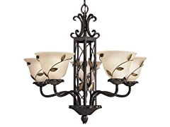 5-Light Eden Chandelier, Forged Bronze