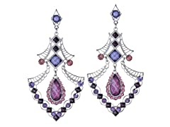 Rhodium-Plated Triangle Purple Glass Beads Dangling Earrings