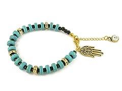 Genuine Turquoise Black Bead Hamsa Charm Bracelet