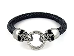 SS Skull Lock Braided Leather Bracelet, Black