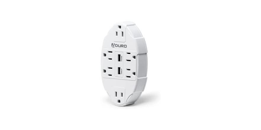 Aduro Surge Oval Charging Station 6 Outlets Dual USB - White   WOOT