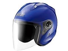 Open Face Motorcycle Helmet - Blue
